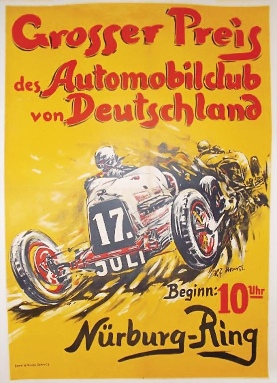 A 1932 German auto racing poster designed by H.J. Moser sold for $10,095 plus the buyer's premium at Automobilia Ladenburg Auction in May 2020.