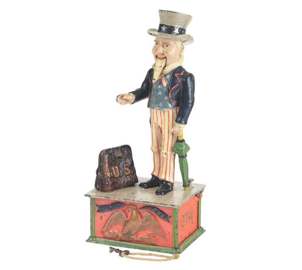 An Uncle Sam mechanical bank made by the Shepard Hardware Company sold for $16,000 plus the buyer's premium in March 2019 at Dan Morphy Auctions.