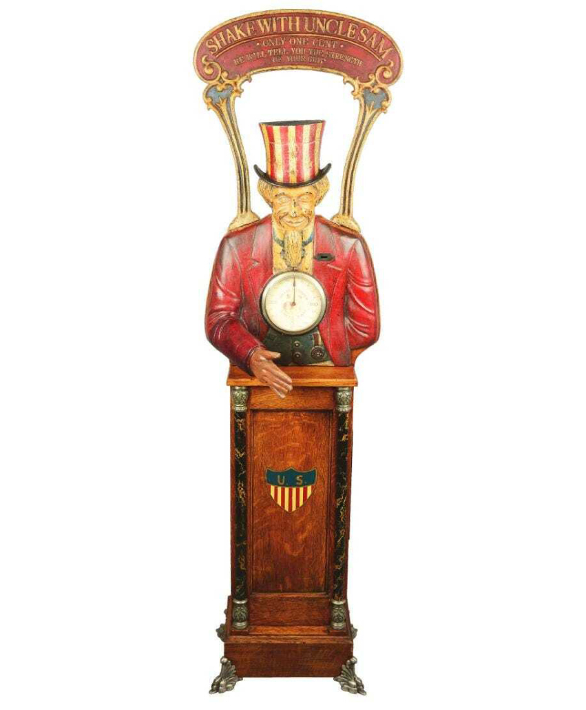 A 1¢ Caille Shake with Uncle Sam grip tester, circa 1908, brought $12,000 plus the buyer's premium at Dan Morphy Auctions in October 2017.