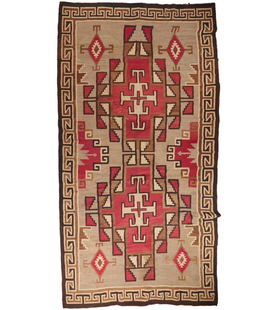 A Navajo crystal room sized rug achieved $9,500 plus the buyer's premium.