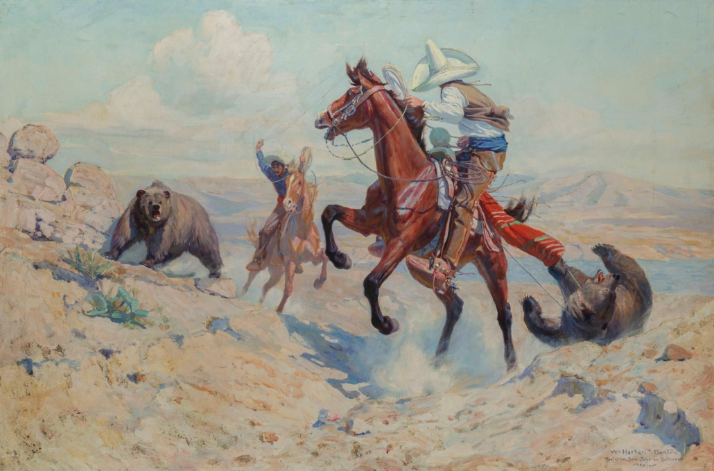 This Herbert Dunton painting of Mexican vaquero brothers roping brown bears realized $250,000 plus the buyer's premium in May 2020.