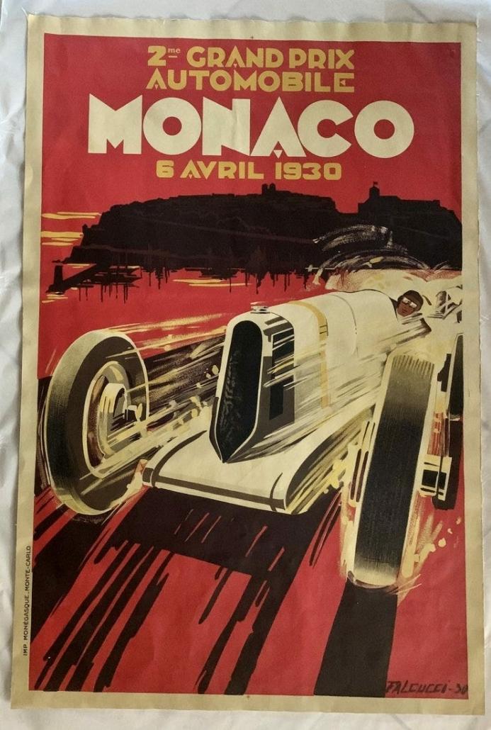 A Robert Falcucci-designed April 1930 Monaco race poster sold for $2,050 plus the buyer's premium in June 2020 at Black River Auction.