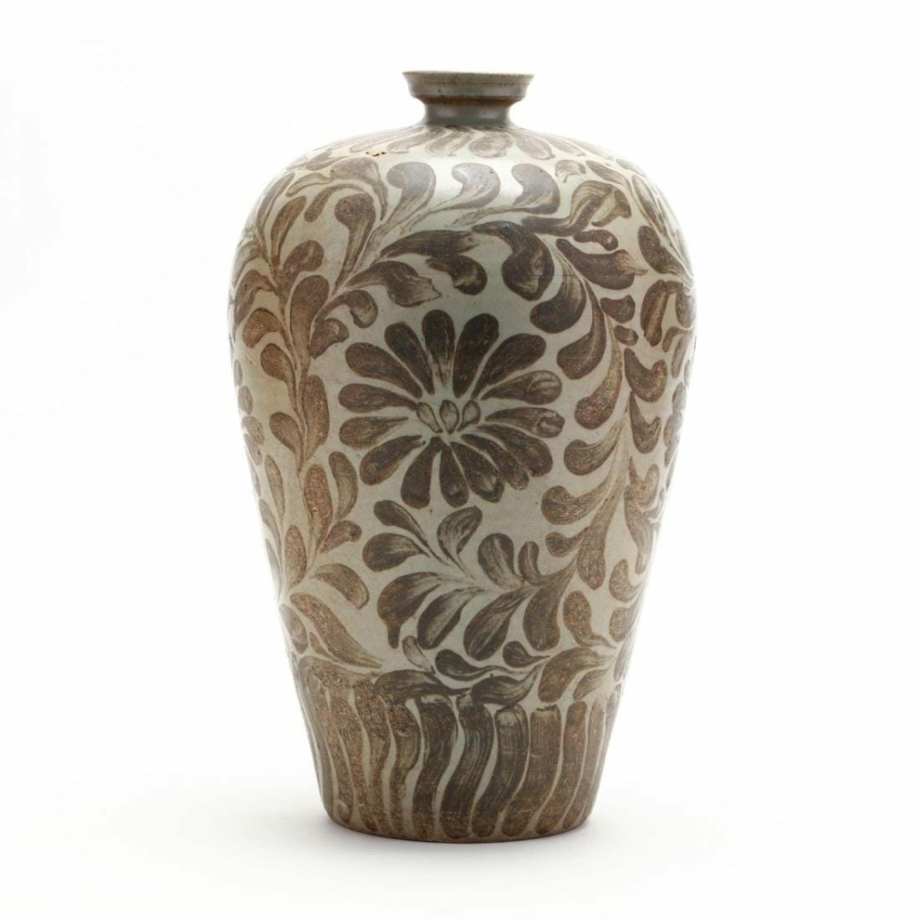 A maebyeong vase sold for $16,500 plus the buyer's premium in March 2018 at Leland Little Auctions.
