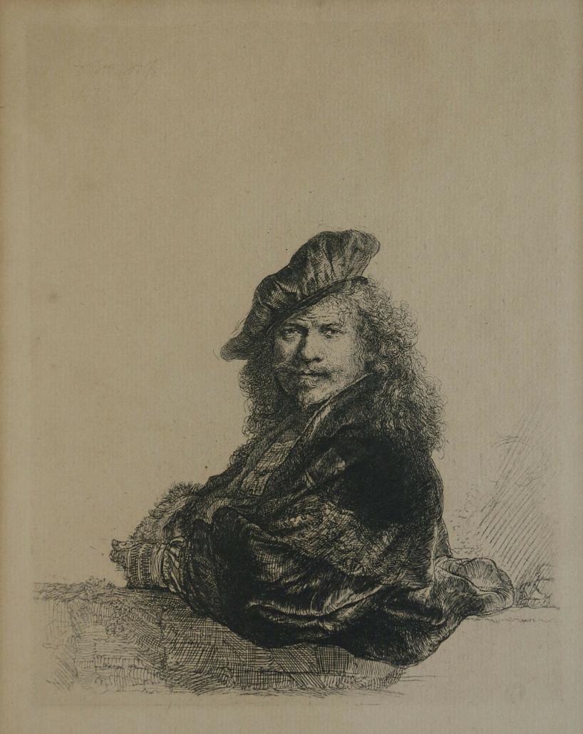 Rembrandt van Rijn self-portrait etching, estimated at $20,000-$30,000