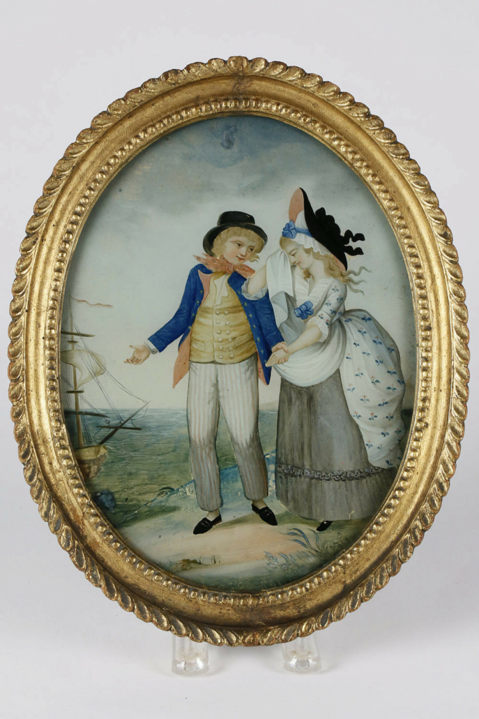 Circa-1800 portrait of William and Mary, painted in reverse on glass, estimated at $4,000-$6,000