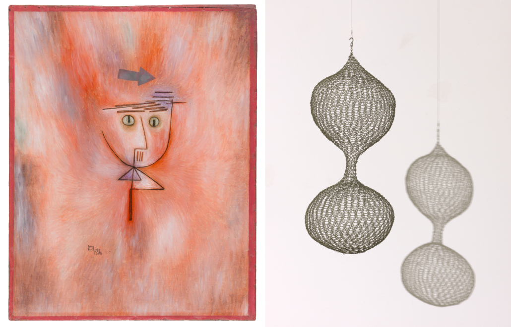 Left, Paul Klee, 'Fast getroffen (Nearly Hit),' 1928; Collection SFMOMA, Albert M. Bender Collection, Albert M. Bender Bequest Fund purchase; photo: Mary Ellen Hawkins. Right, Ruth Asawa, 'Untitled (S.530, Hanging, Two-Lobed, Continuous Form),' ca. 1952-1954; Collection SFMOMA, Gift of Robert B. Howard; © 2021 Estate of Ruth Asawa / Artists Rights Society (ARS), New York; photo: Katherine Du Tiel