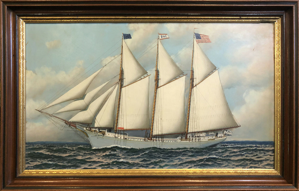 Antonio Jacobsen schooner portrait of the Adelaide Barbour, estimated at $6,000-$10,000