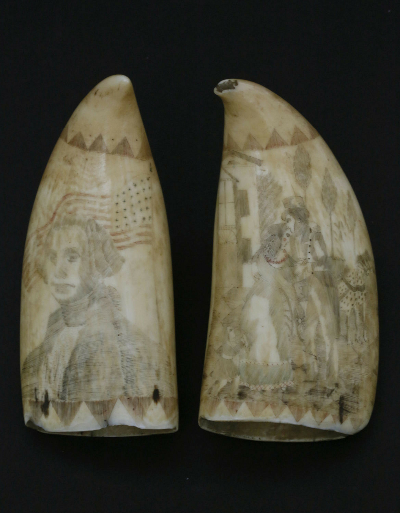 Pair of scrimshaw and polychrome antique sperm whale teeth, estimated at $12,000-$18,000