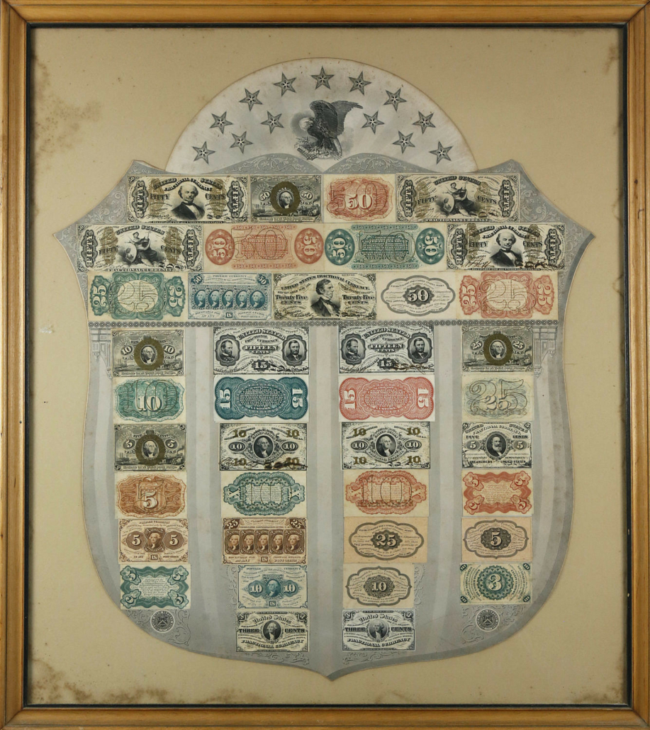Framed lithographed Federal shield bearing 39 fractional currency notes, estimated at $3,000-$5,000