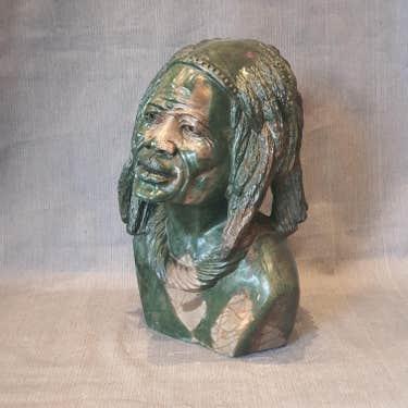 Thomas M. Gidi green verdite bust, est. $10,000-$25,000