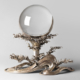 'Crystal Ball,' 19th - early 20th century, artist/maker unknown, Chinese. Rock crystal (quartz), 8 11/16 inches, 31 pounds 8.4 ounces; silver stand, 17 3/8 inches. Gift of Major General and Mrs. William Crozier, 1944. Image courtesy of Philadelphia Museum of Art, 2021.