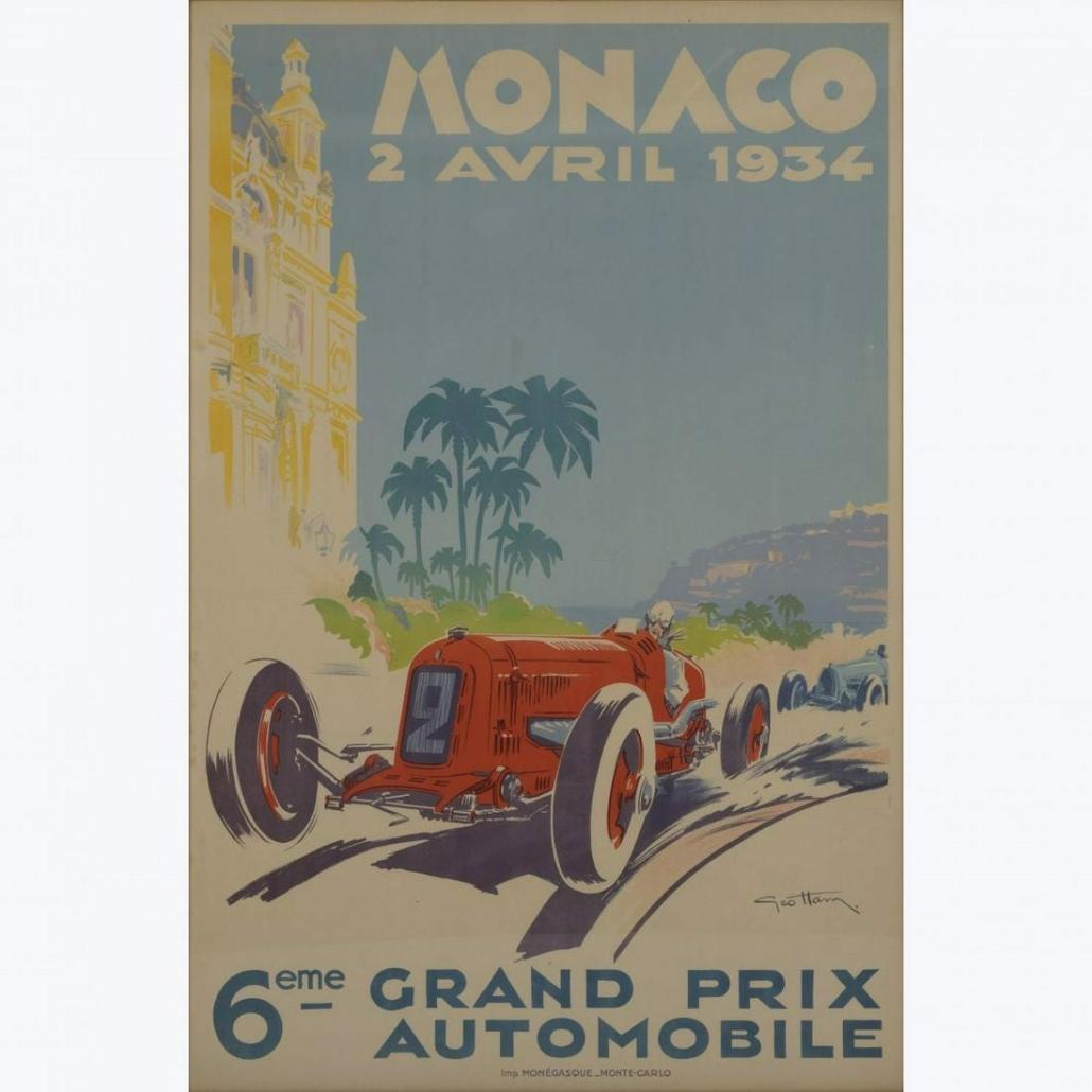 Georges Hamel's Art Deco Grand Prix poster from 1934 earned $11,876 plus the buyer's premium in June 2021 at Quittenbaum Kunstauktionen GmbH.