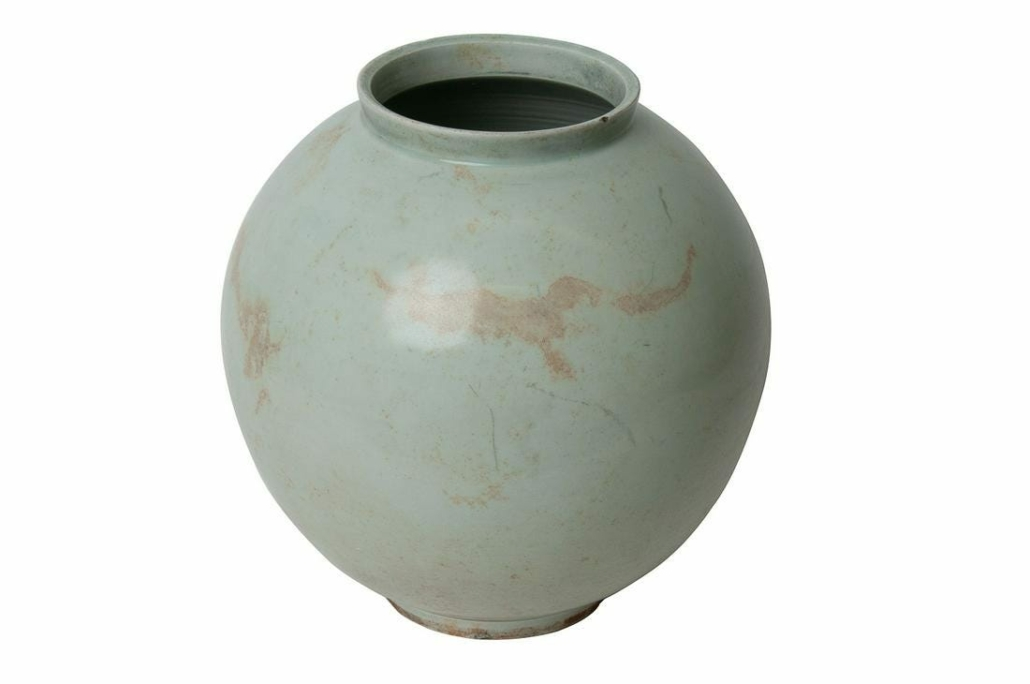 A moon jar with a pleasing celadon glaze brought $2,000 plus the buyer's premium in June 2020 at Abell Auction.