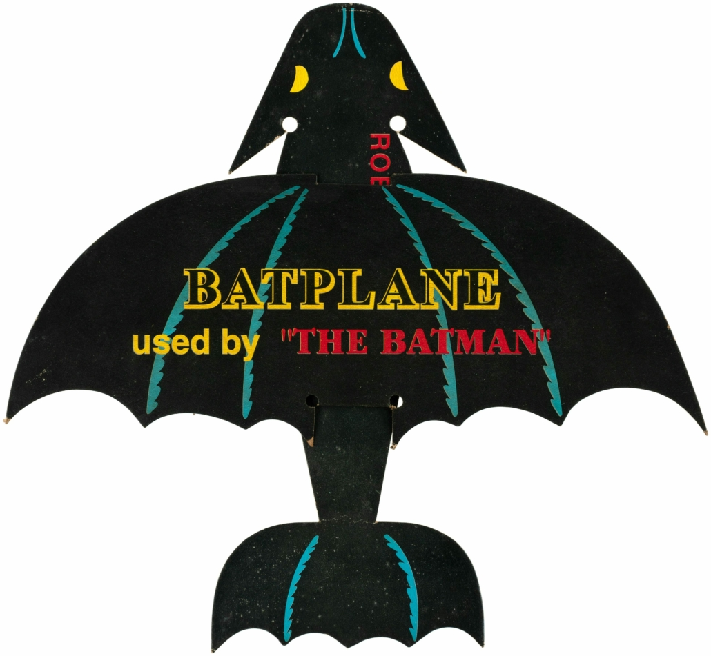 A Batman Batplane cardstock premium from 1943 sold for $22,000 plus the buyer's premium in February 2021 at Hake's Auctions.