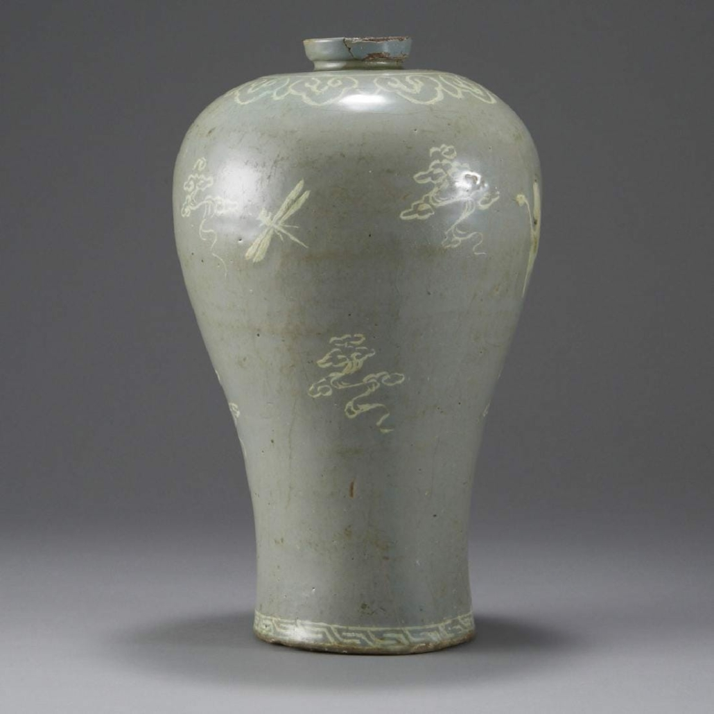 A celadon maebyeong vase from the Goryeo dynasty sold for $85,000 plus the buyer's premium in May 2018 at Revere Auctions.