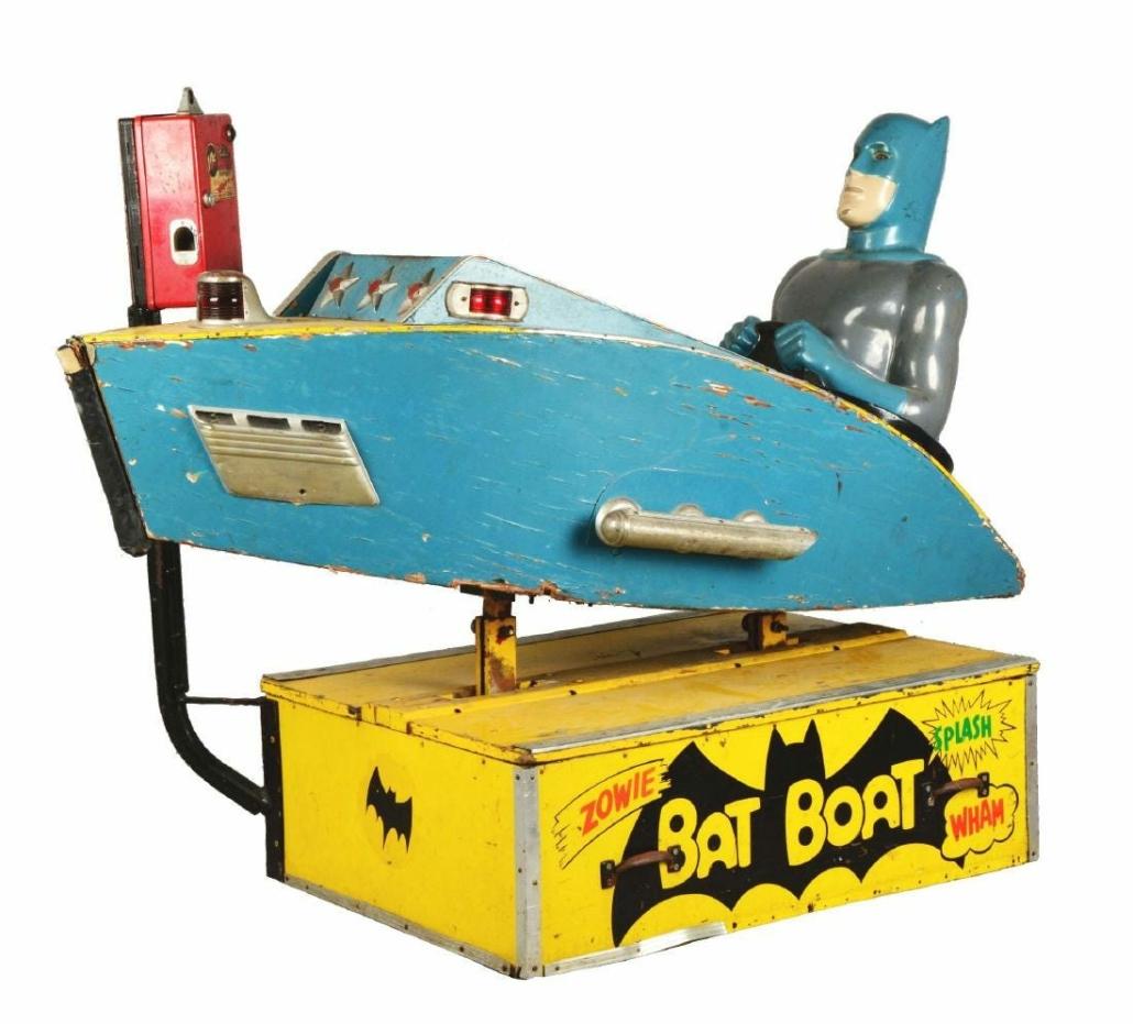 "A circa-1960s Batman ""Bat Boat"" children's amusement ride earned $8,000 plus the buyer's premium in October 2017 at Dan Morphy Auctions."