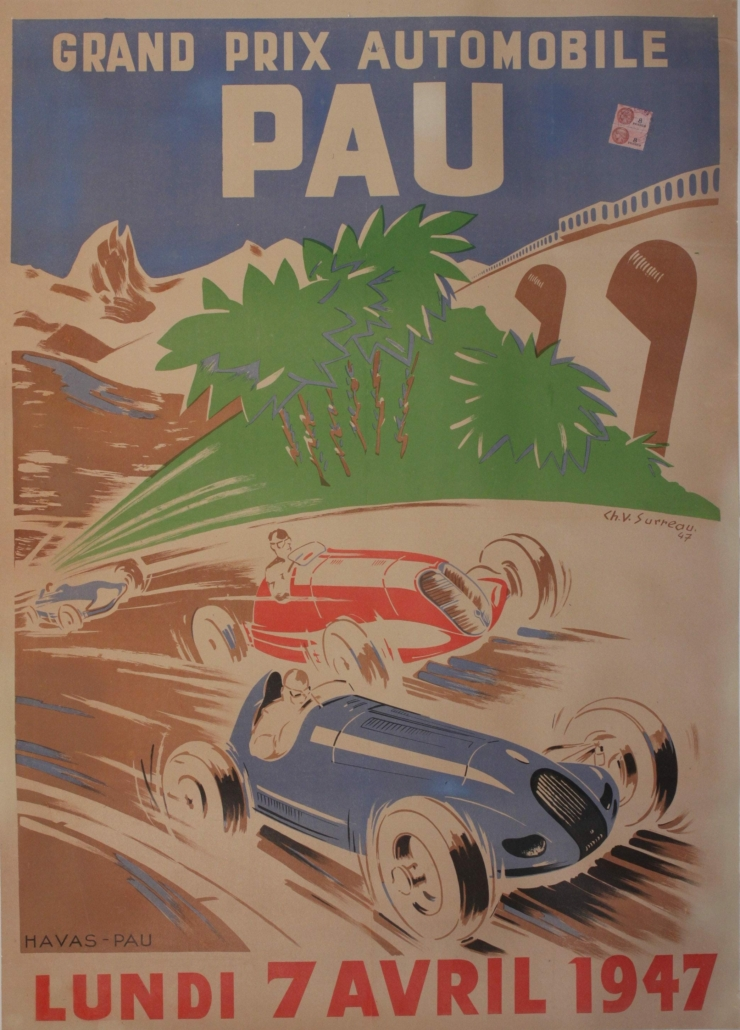 Ch. V. Surreau's Grand Prix Automobile Pau poster from April 1947 realized $2,641 plus the buyer's premium in May 2021 at Onslows Auctioneers.