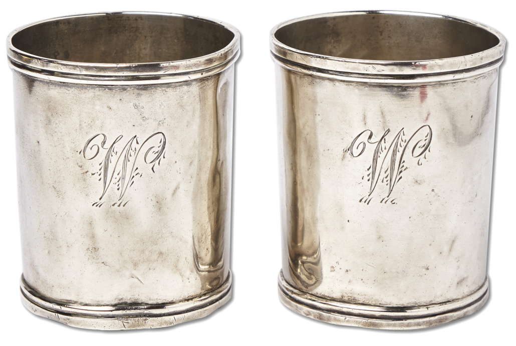 Two silver camp cups used by George Washington during the Revolutionary War will go to auction July 29.