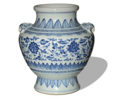 Chinese blue and white lotus zun, Yongzheng period, estimated at $22,000-$28,000.