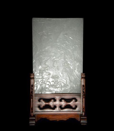 Chinese carved jade table screen with hardwood stand, estimated at $22,000-$28,000.