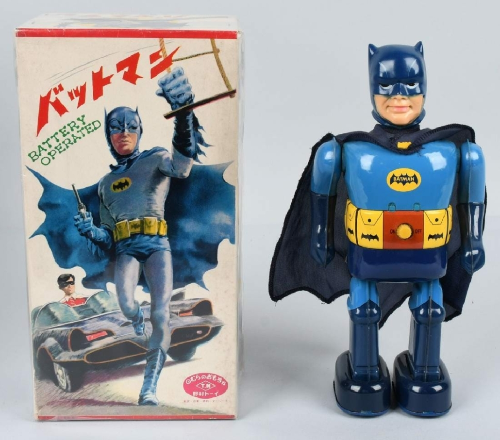 A battery-operated mint in box Batman walking toy sold for $14,000 plus the buyer's premium in October 2018 at Milestone Auctions.