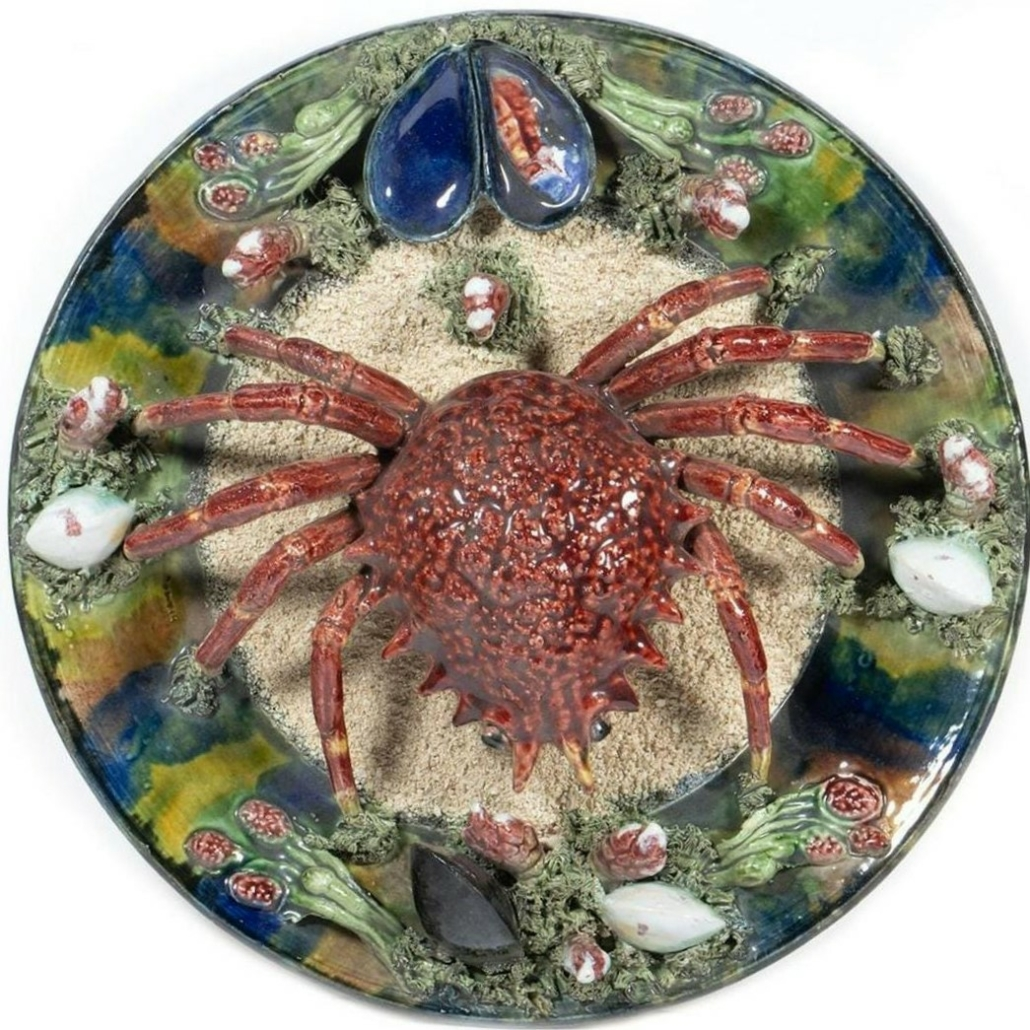 Palissy-style majolica plate, est. $200-$300