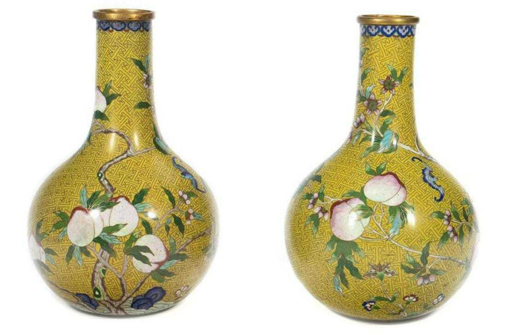 Pair of Chinese cloisonne vases, est. $600-$800