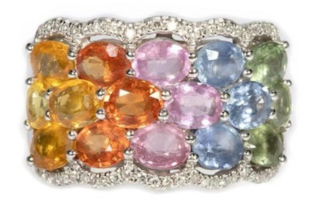 EFFY multi-color sapphire, diamond and 14K white gold ring, est. $300-$500