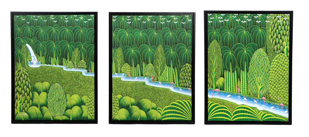 Henry-Robert Bresil, 'Green Jungles with Pink Flamingoes,' est. $500-$1,000