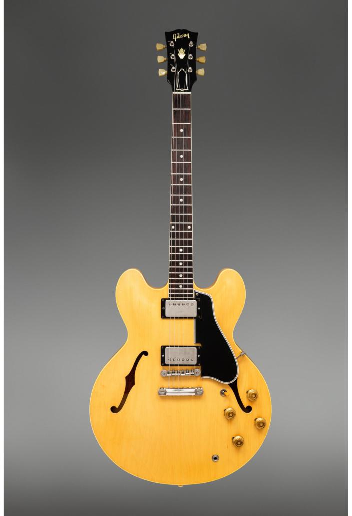 1959 Gibson ES-335 natural semi-hollow body, $137,500