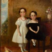 19th-century folk art double portrait of siblings, est. $800-$1,200