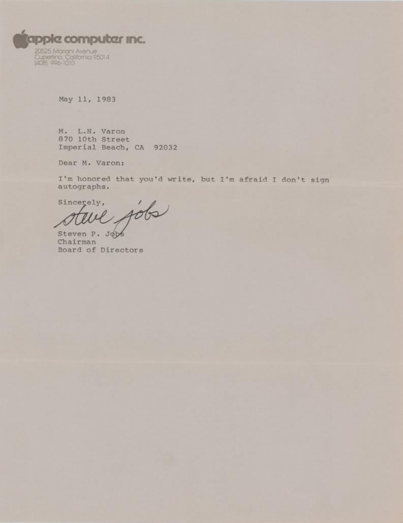 Steve Jobs 'ironic' signed letter, $479,939