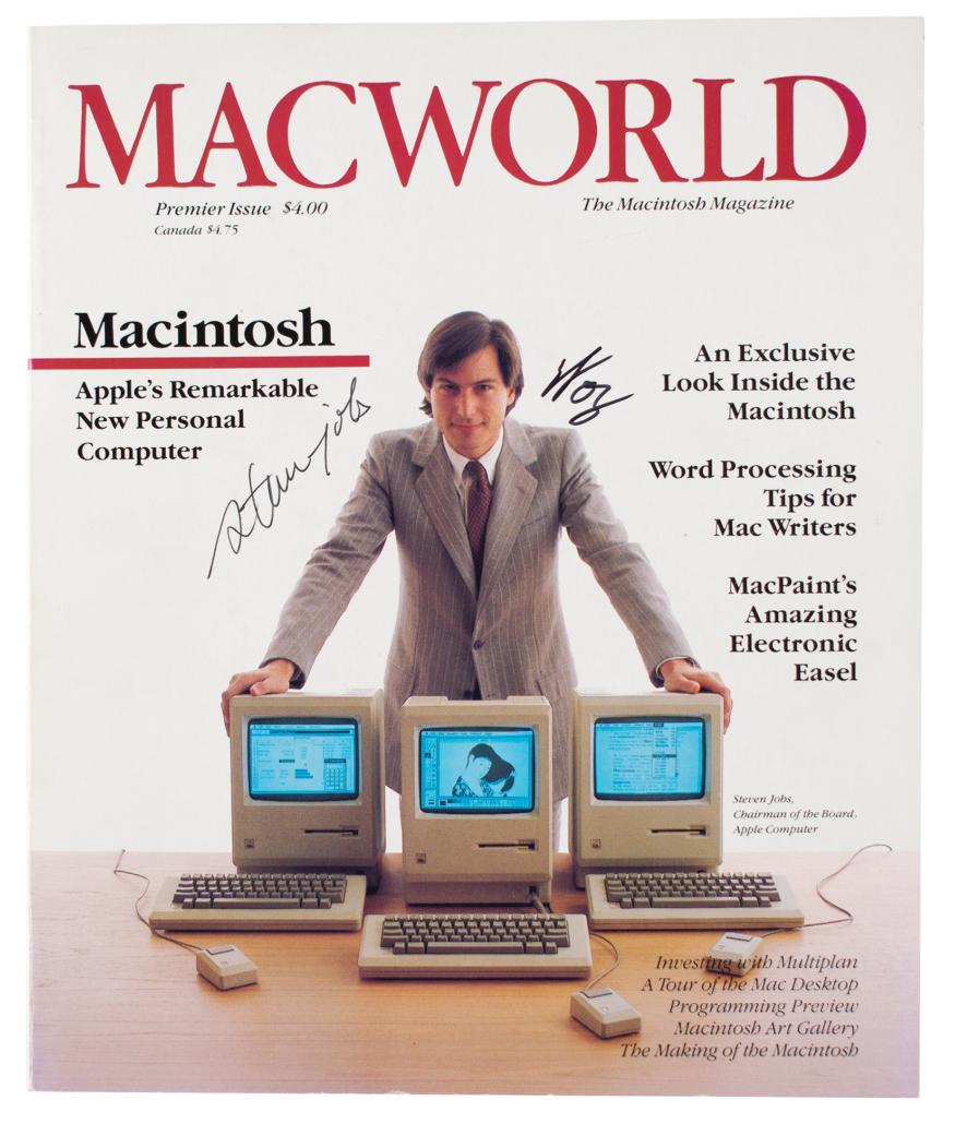 Issue of Macworld #1 signed by Steve Jobs and Steve Wozniak, $201,021