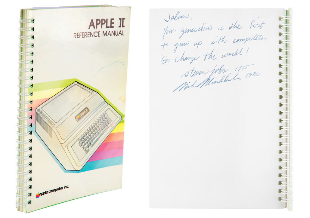 Apple II manual signed and inscribed by Steve Jobs, $787,484