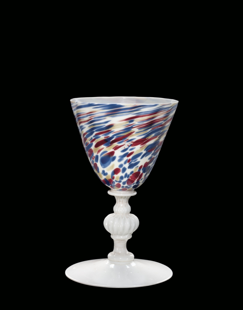 Goblet, Venice, Italy or France, 1600 1699. Blown, mold blown, tooled glass. Overall H: 11.2 cm, Diam (rim): 6.7 cm, Diam (foot): 6.8 cm 79.3.1107, gift of The Ruth Bryan Straus Memorial Foundation