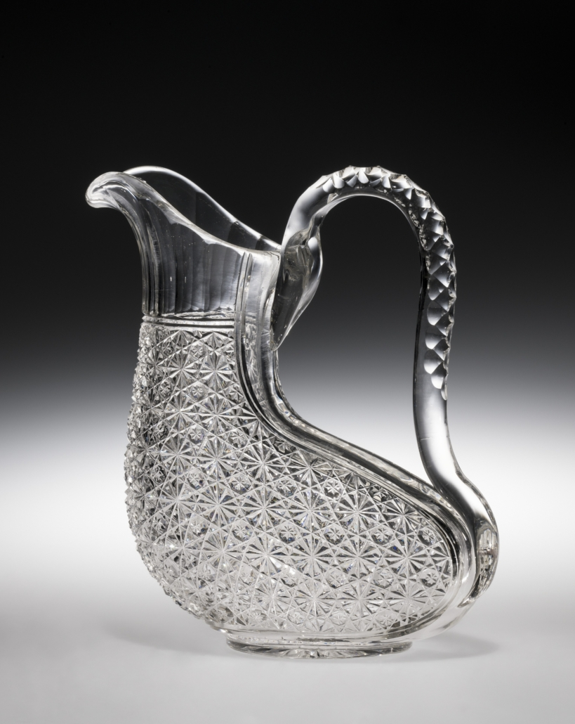 """Wine jug in """"Russian"""" pattern. Blank: probably Corning Glass Works. Cutting: probably J. Hoare & Company (1868 1920). Corning, N.Y., about 1882 1890. Blown, cut glass. Overall H: 22.2 cm, W: 10 cm, L: 19.6 cm. 95.4.361, gift with funds from Harriet Smith"""