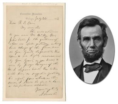 Lincoln, Einstein headline University Archives Aug 25-26 auction
