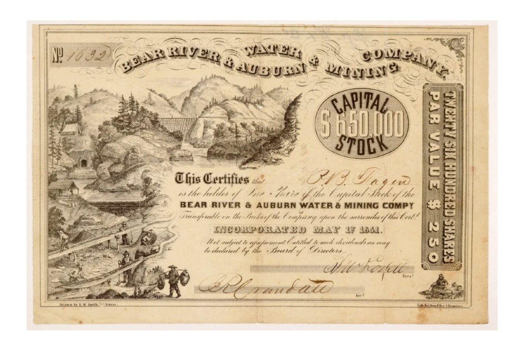 A beautifully illustrated stock certificate issued in 1861 by the Bear River & Auburn Water & Mining Co. sold for $750 plus the buyer's premium in July 2019 at Holabird Western Americana Collections. Image courtesy of Holabird Western Americana Collections and LiveAuctioneers.