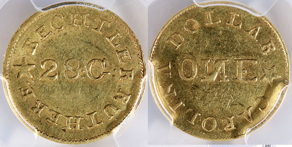 One-dollar gold coin produced by Christoph Bechtler, $7,500