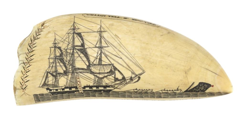 Scrimshaw whale's tooth by Edward Burdett, est. $300,000-$400,000
