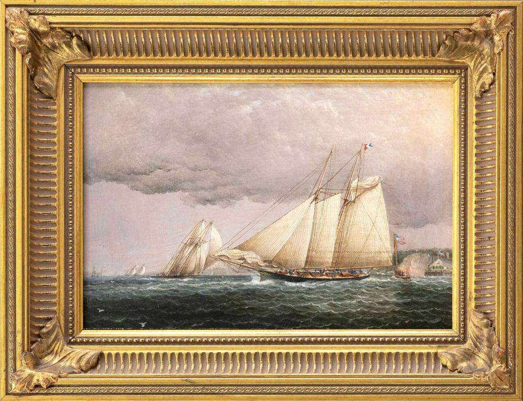 James Edward Buttersworth ship portrait of the schooner yacht Palmer, est. $60,000-$90,000