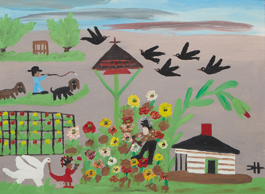 Clementine Hunter, 'Uncle Tom in the Garden with Little Eva,' circa 1965, est. $4,000-$8,000