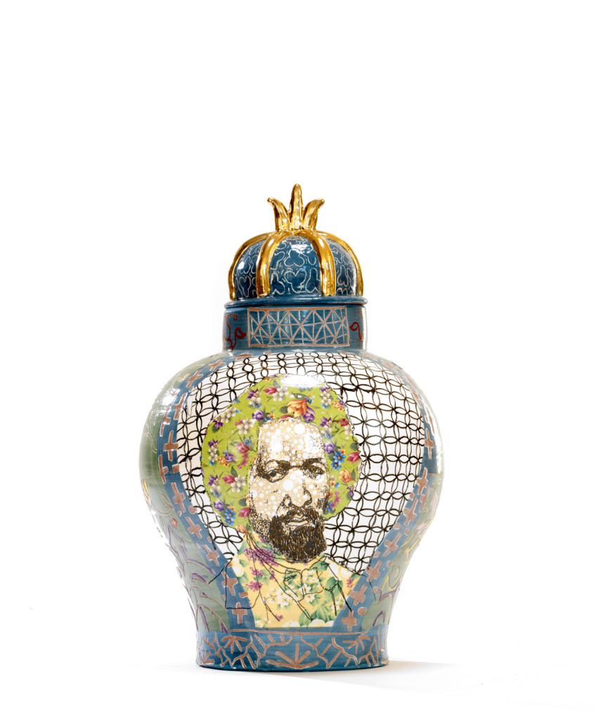 'Frederick Douglass / Arthur Ashe Urn,' 2017. Roberto Lugo Collection of Mark McDonald and Dwayne Resnick. Courtesy of the Jule Collins Smith Museum of Fine Art.