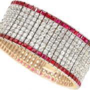 Diamond, ruby, and platinum-topped gold bracelet, $40,000