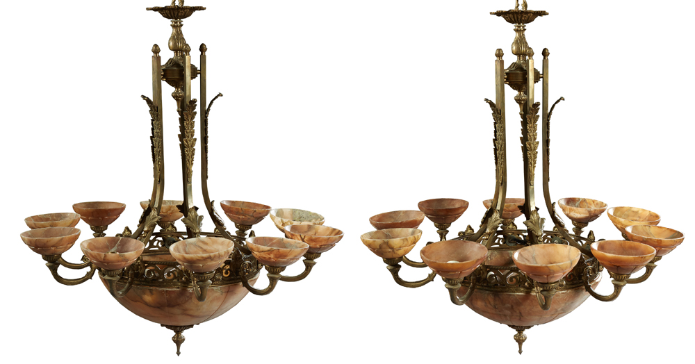 Pair of French bronze and alabaster 12-light chandeliers, est. $800-$1,200