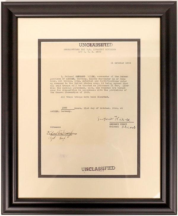 World War II letter of surrender, representing the first German surrender on German soil, $2,625
