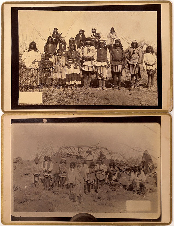Two photographs of the Apache leader Geronimo's surrender in Arizona in the 1880s, $5,125