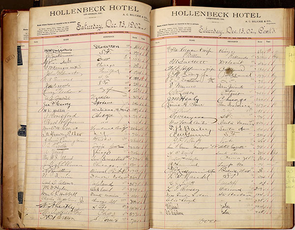 Three ledgers from the Hollenbeck Hotel in Los Angeles, $2,000