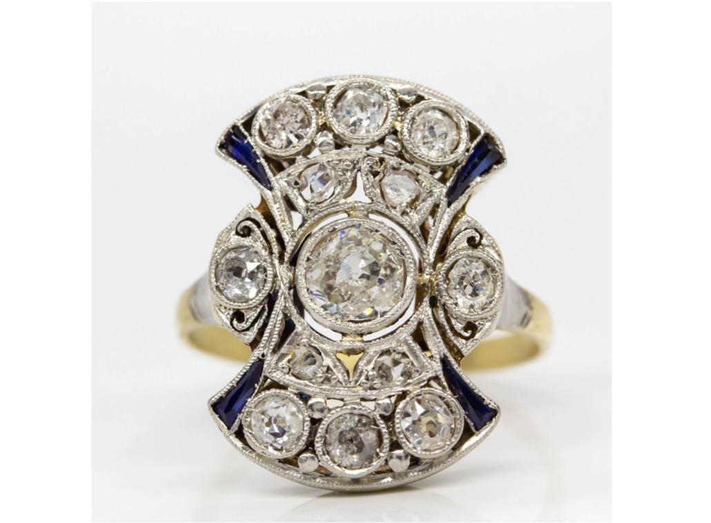 Art Deco diamond and sapphire ring, est. $1,500-$2,000