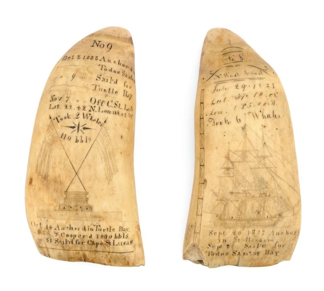 Pair of Log Book Teeth scrimshaw works by Josiah Sheffield, Jr., est. $80,000-$120,000